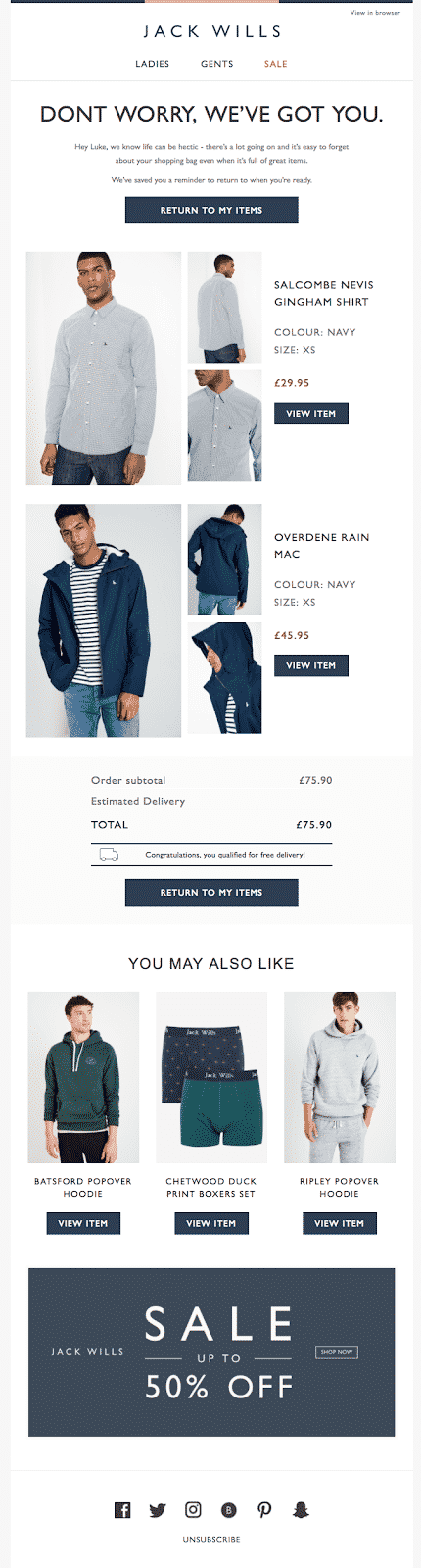 Cart abandonment email from Jack Wills