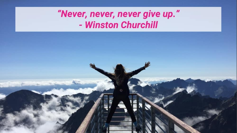 Winston Churchill's never give up quote is relevant to the UI/UX job hunt