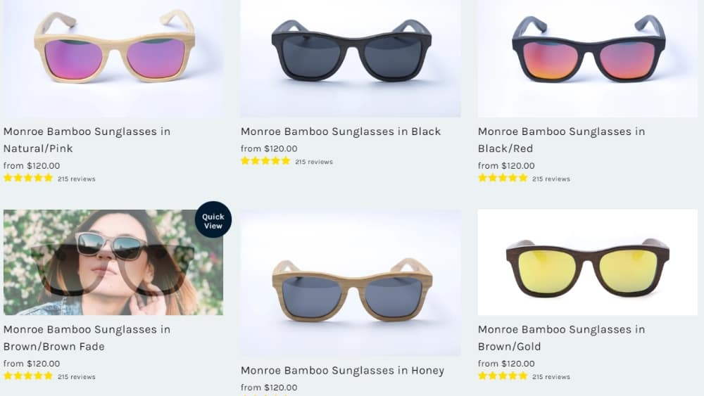 Panda Sunglasses product range - How To Build An Online Presence With Sustainability At Its Core