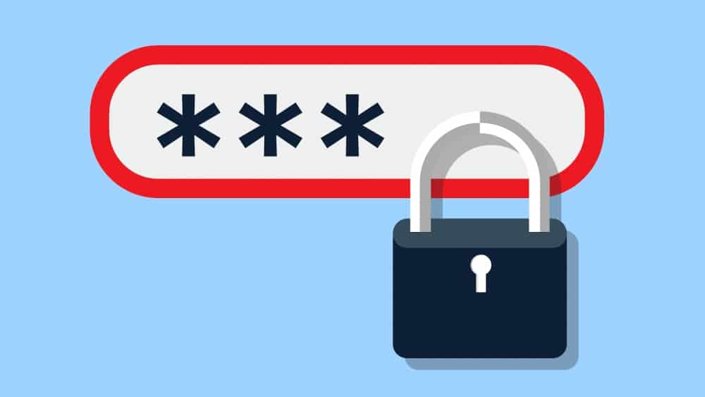 Password protection lock for business security from cyber attacks