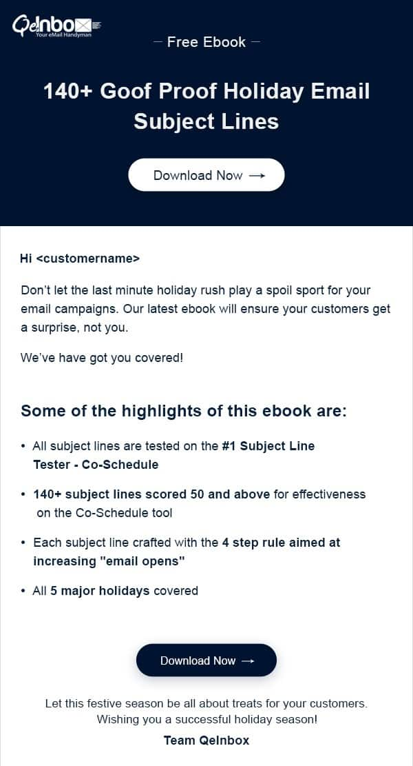 Lead generation email for awareness stage of the sales funnel from QeInbox