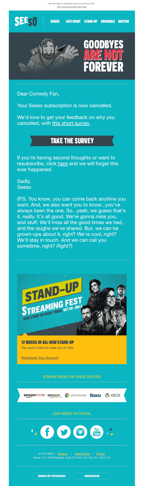 Exit email from Seeso