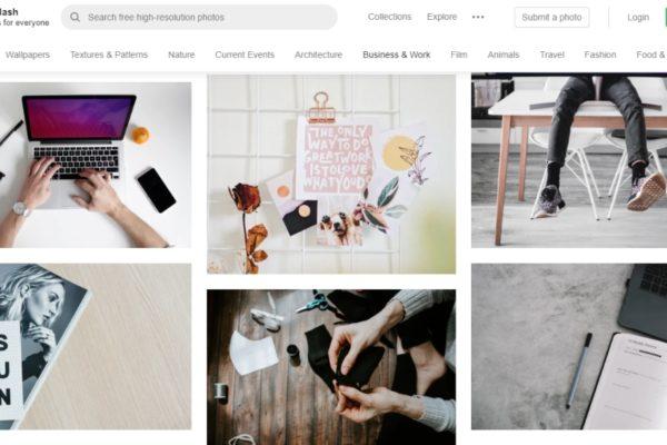 Unsplash screenshot displaying useful images for SEO