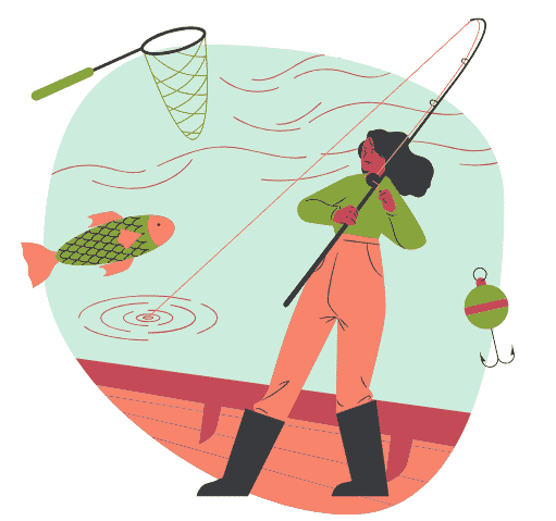 Woman fishing, reeling in customers with appealing content