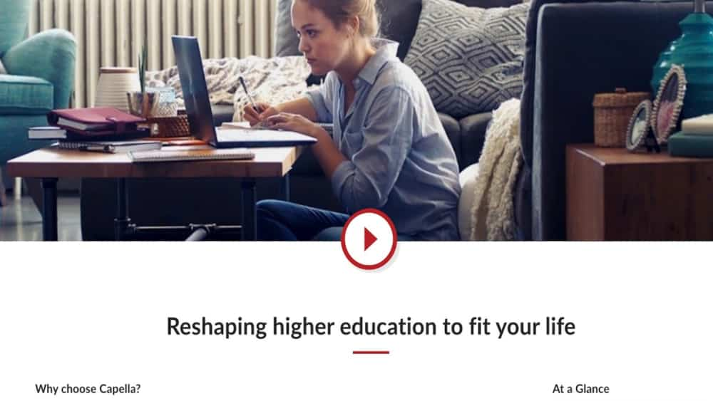 Capella University Landing Page Image is Well Suited to Their Target Audience