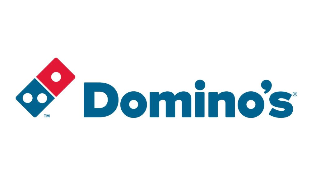 Domino's logo features 3 dots representing the chain's first 3 stores