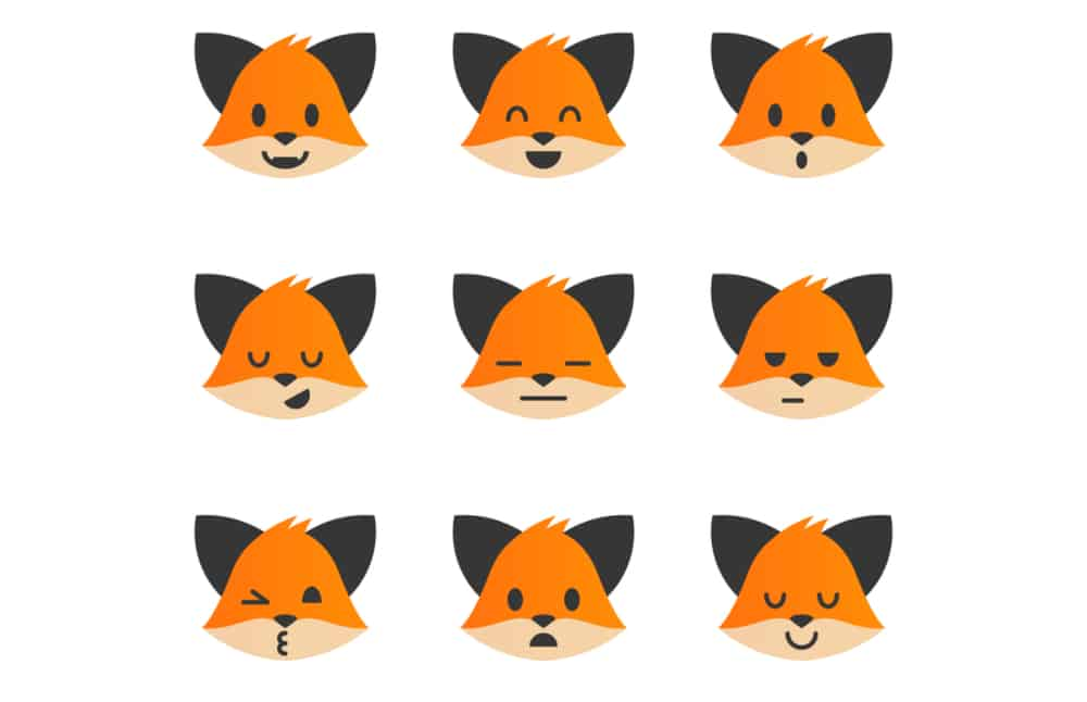 Graphic of Foxes With Different Emotional Facial Expressions