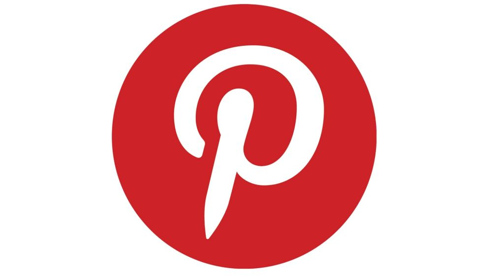 Pinterest logo features a white pin