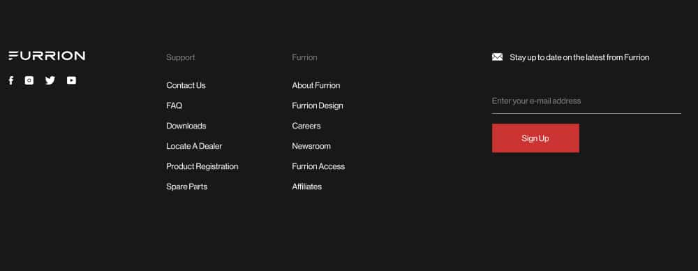 Furrion website footer with email newsletter subscription opt-in field