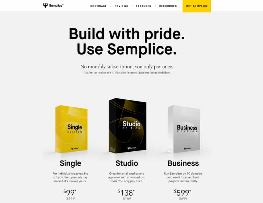 Semplice Landing Page Image Showing Products and Pricing for Most Aware Category Prospects