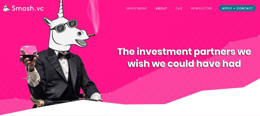 Smash.vc Landing Page With Target Audience-Appropriate Image of Unicorn Smoking Cogar