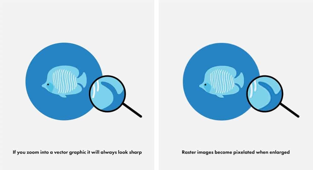 Vector vs Raster Graphics - raster images appear more pixelated when enlarged