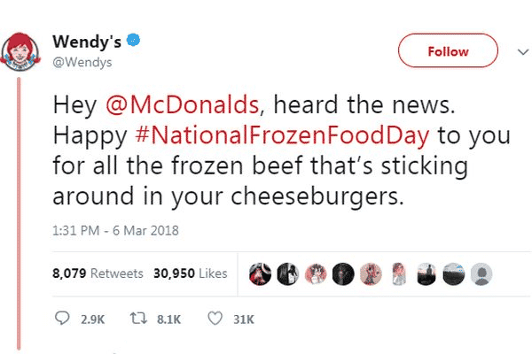 Wendy's tweet highlighting brand's unique selling proposition