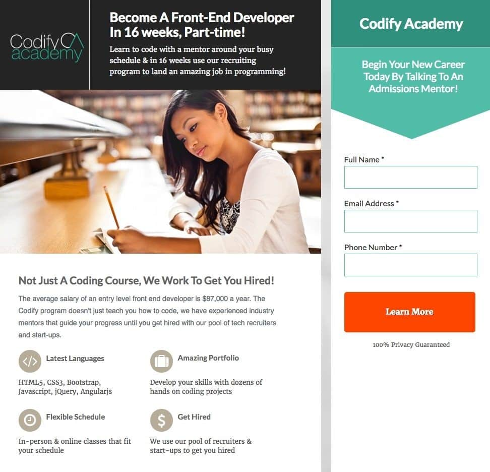 Codify Academy webpage using color contrast as a directional visual cue