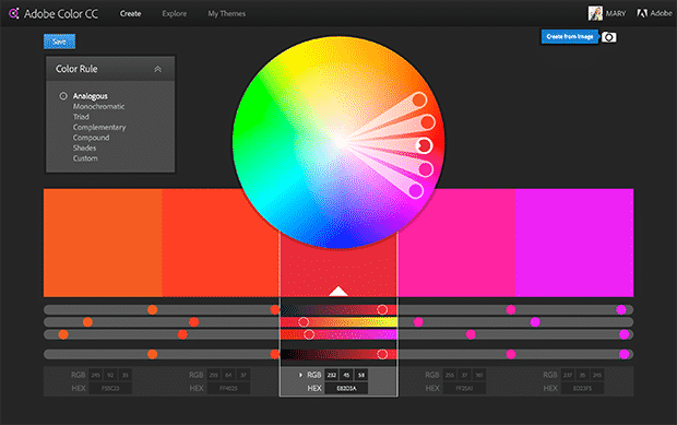 Adobe's Color Wheel automatically provides a color scheme based on an uploaded image