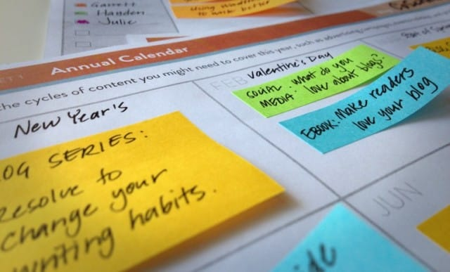 Content calendar sticky notes