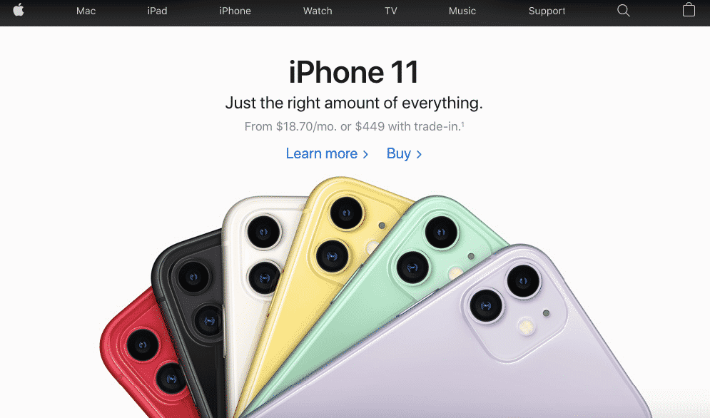 Apple's iPhone 11 webpage uses simple design to maximise conversions