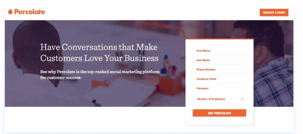 Percolate webpage uses white space to emphasise the CTA