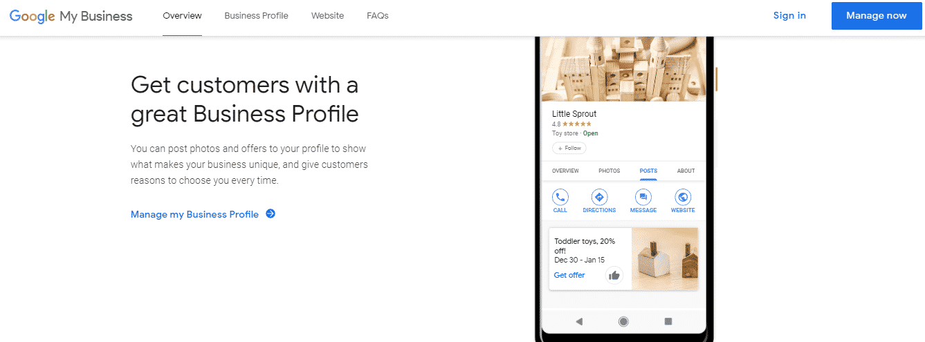 Google My Business account for new business marketing