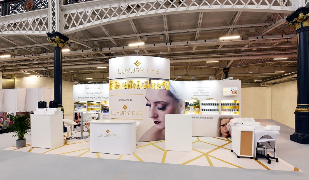 Large white exhibition stand large format graphic design