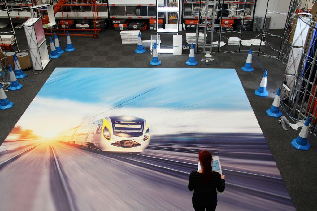 Custom printed floor large format graphic design
