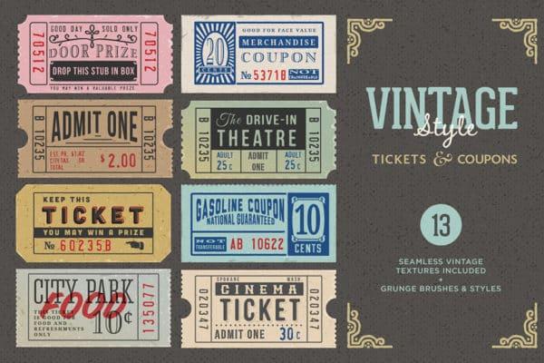 Vintage Ticket Coupons Bundle