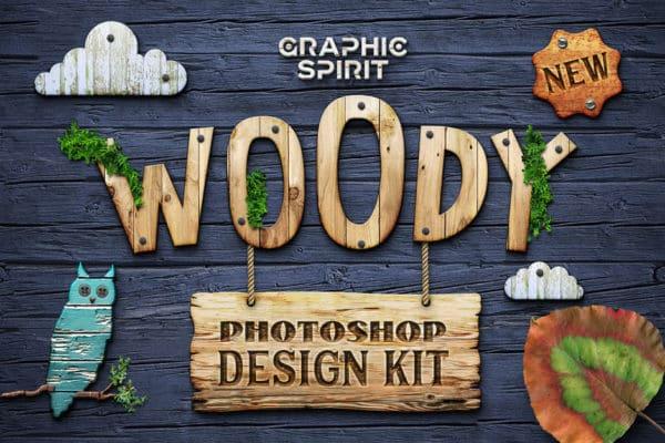Woody Photoshop Wooden Design Kit