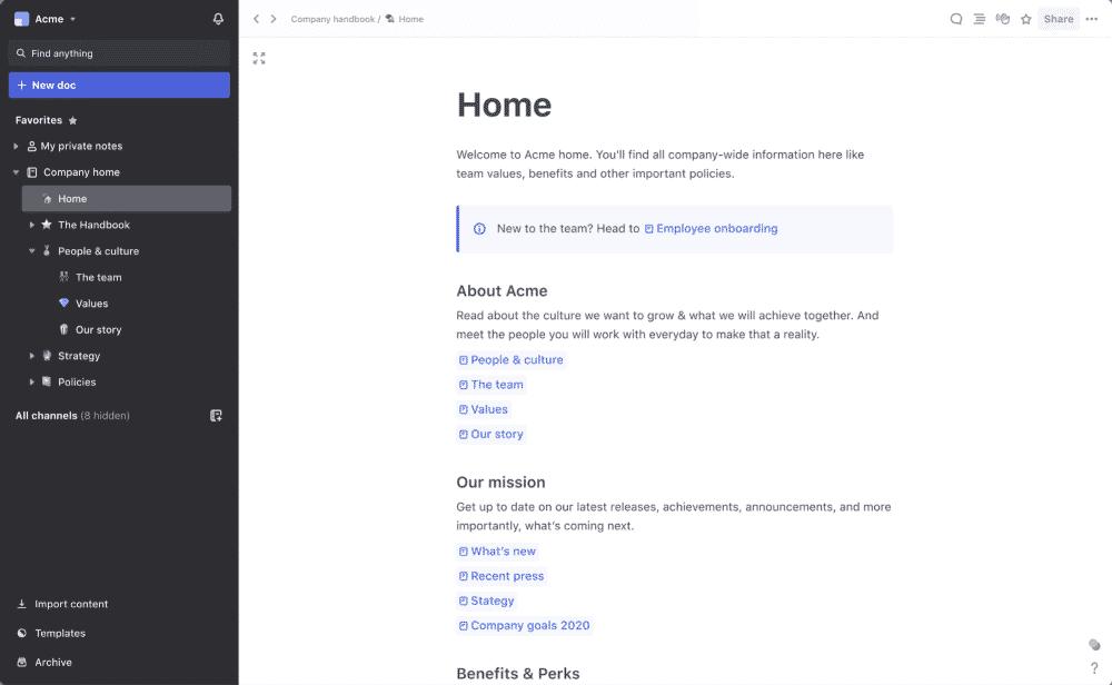 Slite remote work tool for organization
