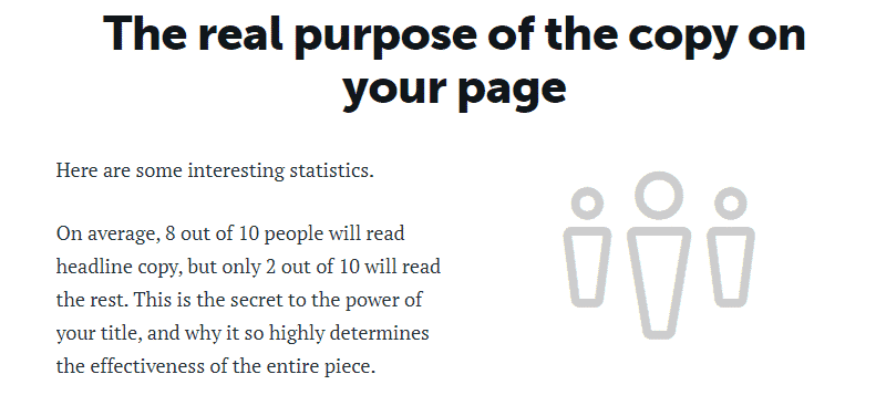 Copy headline fact: 8 out of 10 people read headlines but only 2 out of 10 read the rest