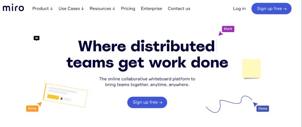 Miro remote work tool for creativity