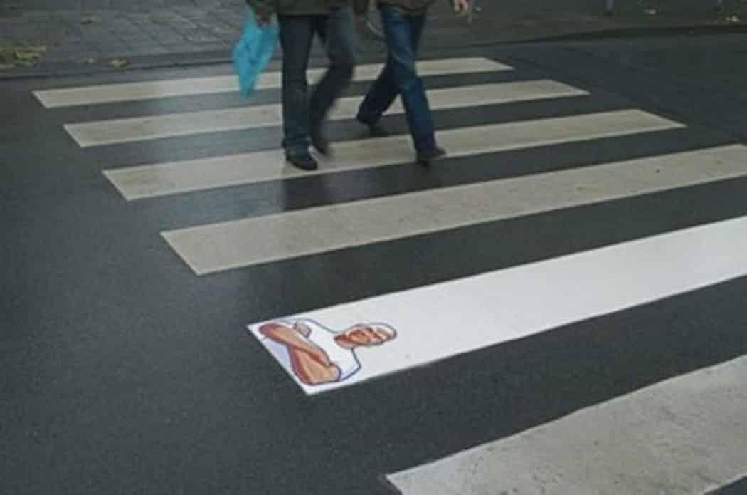 Mr Clean ambient guerilla marketing on pedestrian crossing