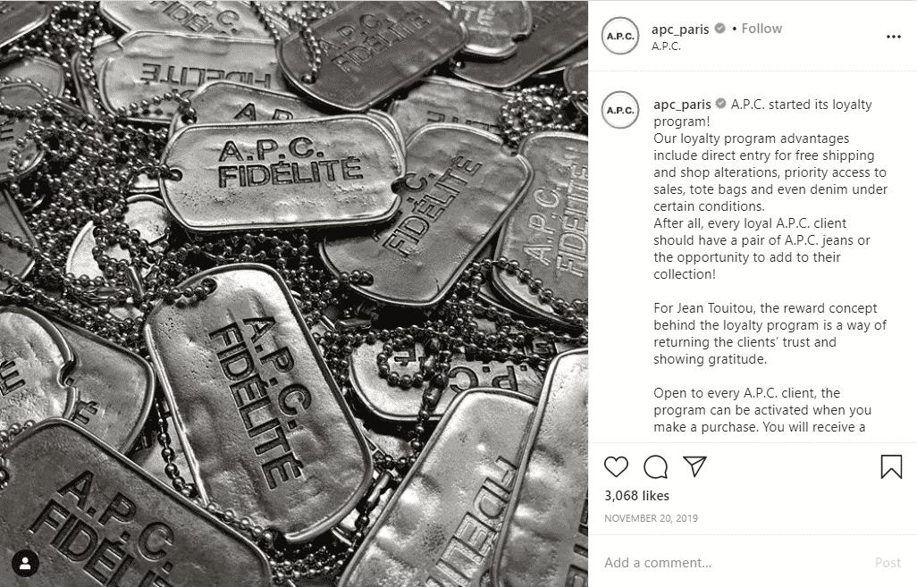 APC Instagram loyalty program promo