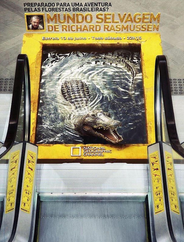 National Geographic ambient guerilla marketing crocodile splashing in water at bottom of escalator