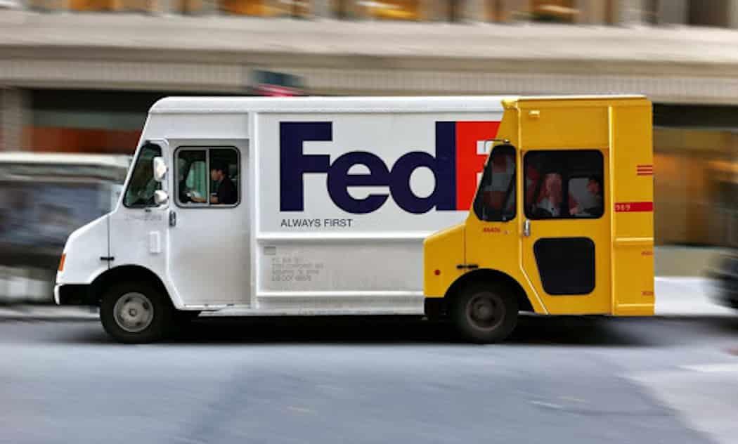 FedEx ambush guerilla marketing displaying POD over DHL