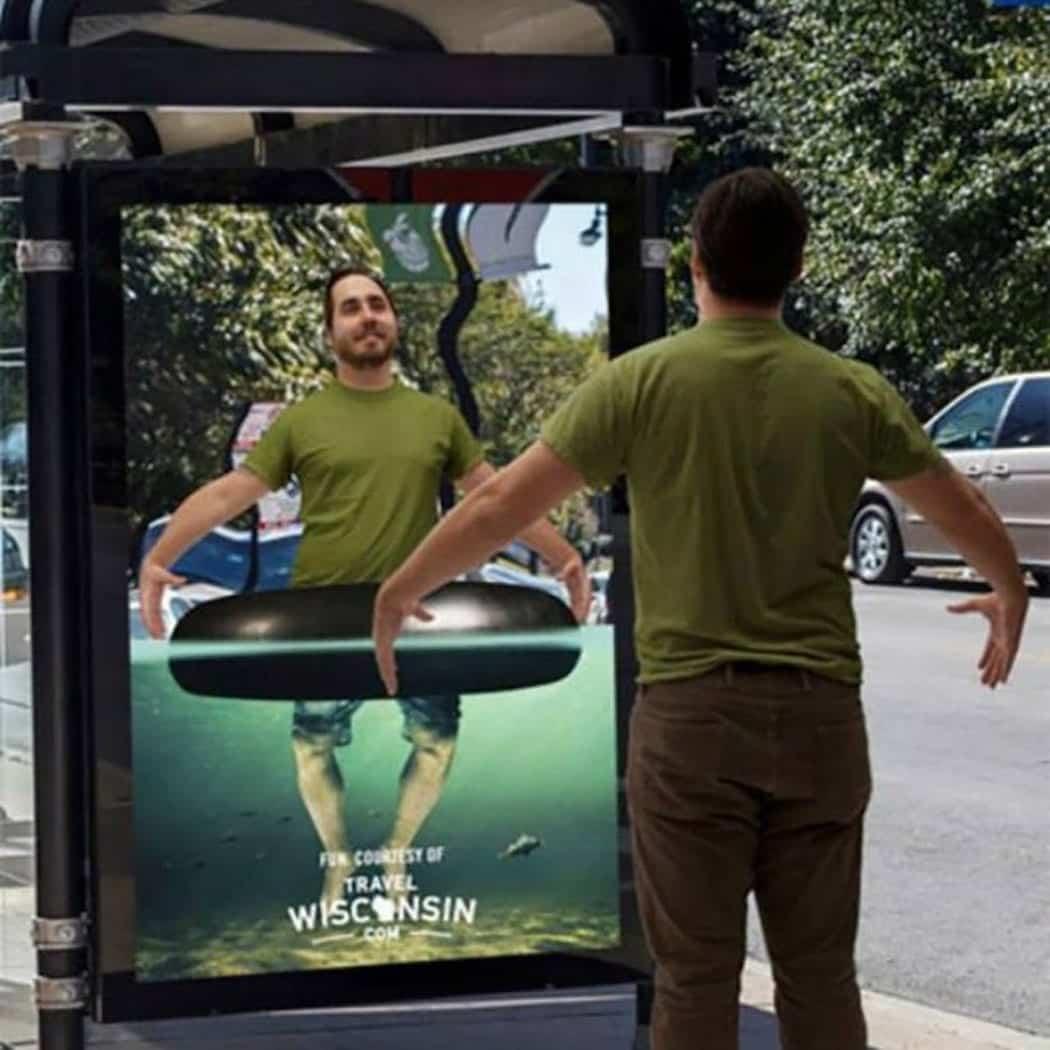 Travel Wisconsin digital guerilla marketing immersive bus shelter ad