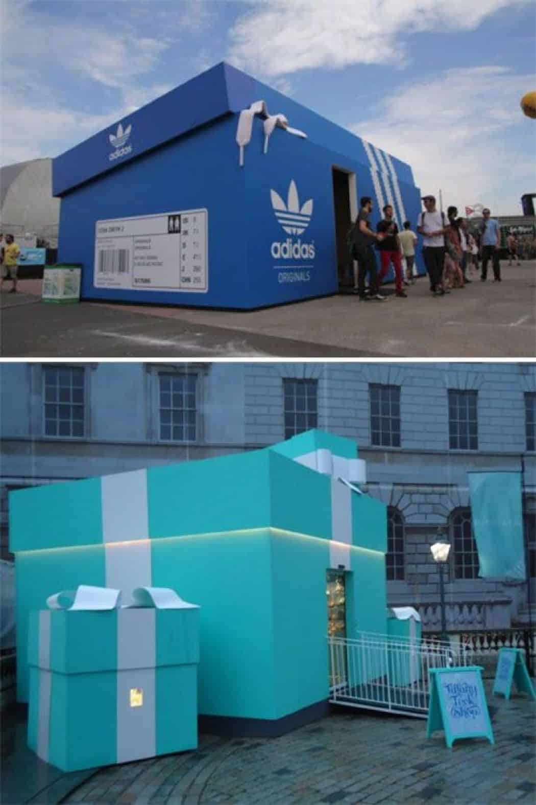 Adidas and Tiffany & Co. experiential guerilla marketing pop-up stores in shape of products