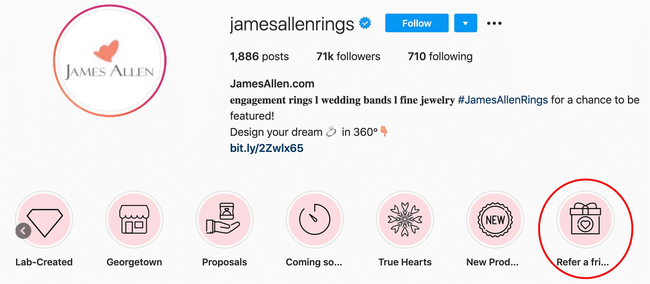 JamesAllen Instagram profile showcases referral program