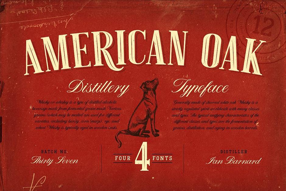 American Oak 4 Font Set