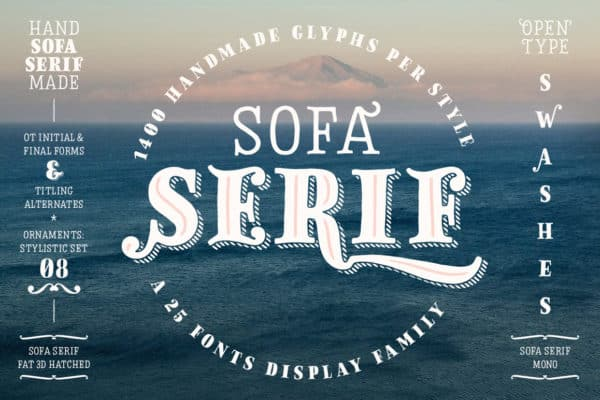 Sofa Serif – 25 Hand Drawn Display Fonts