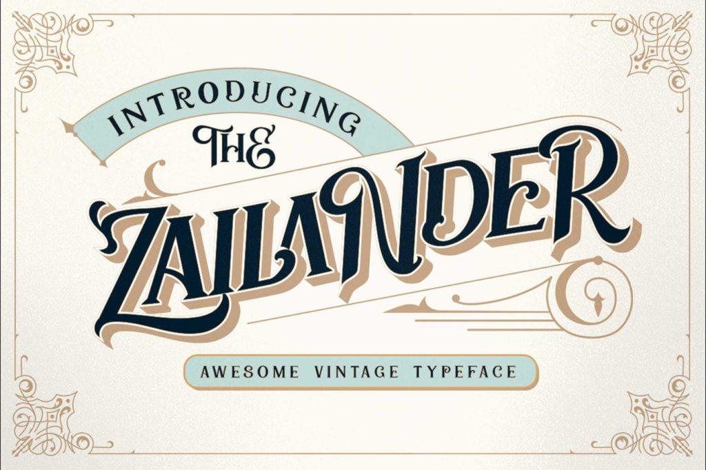 Zailander - A vectorian vintage font