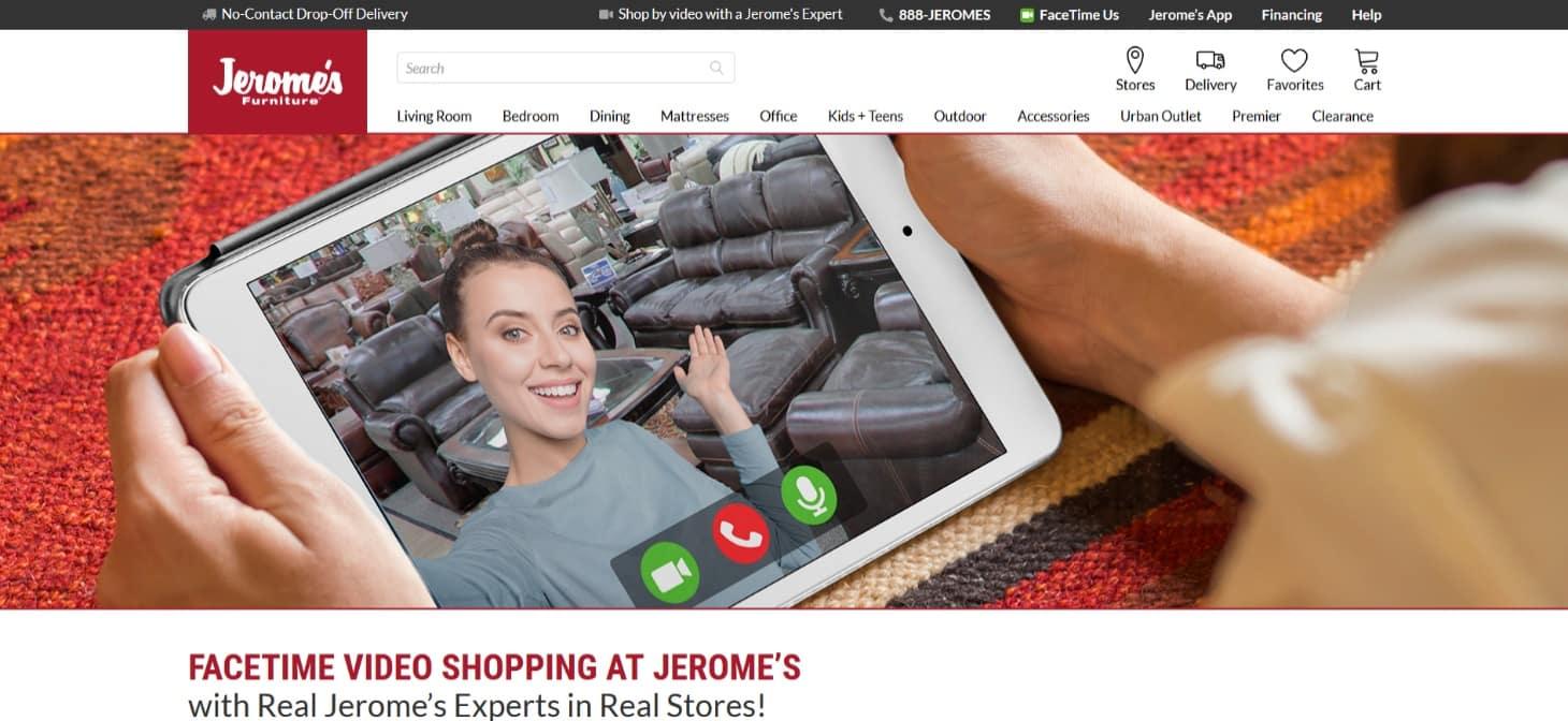 A Jerome's Furniture usa as compras do FaceTime e bate-papo ao vivo para construir sua marca