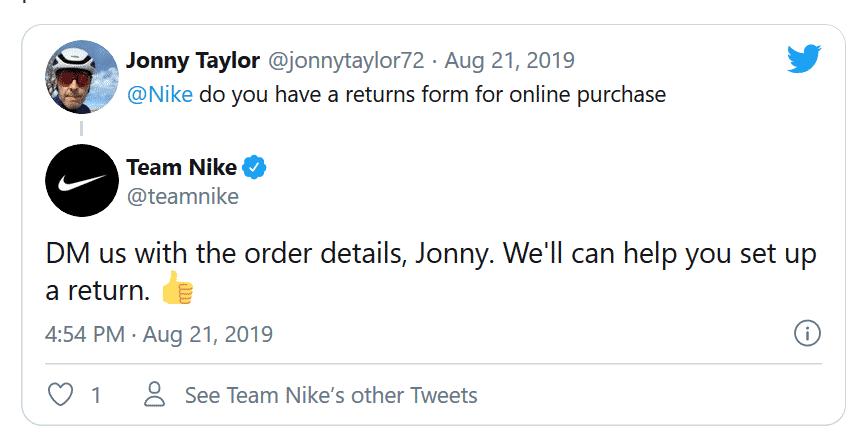 O forte suporte ao cliente da Nike aumenta sua imagem de marca