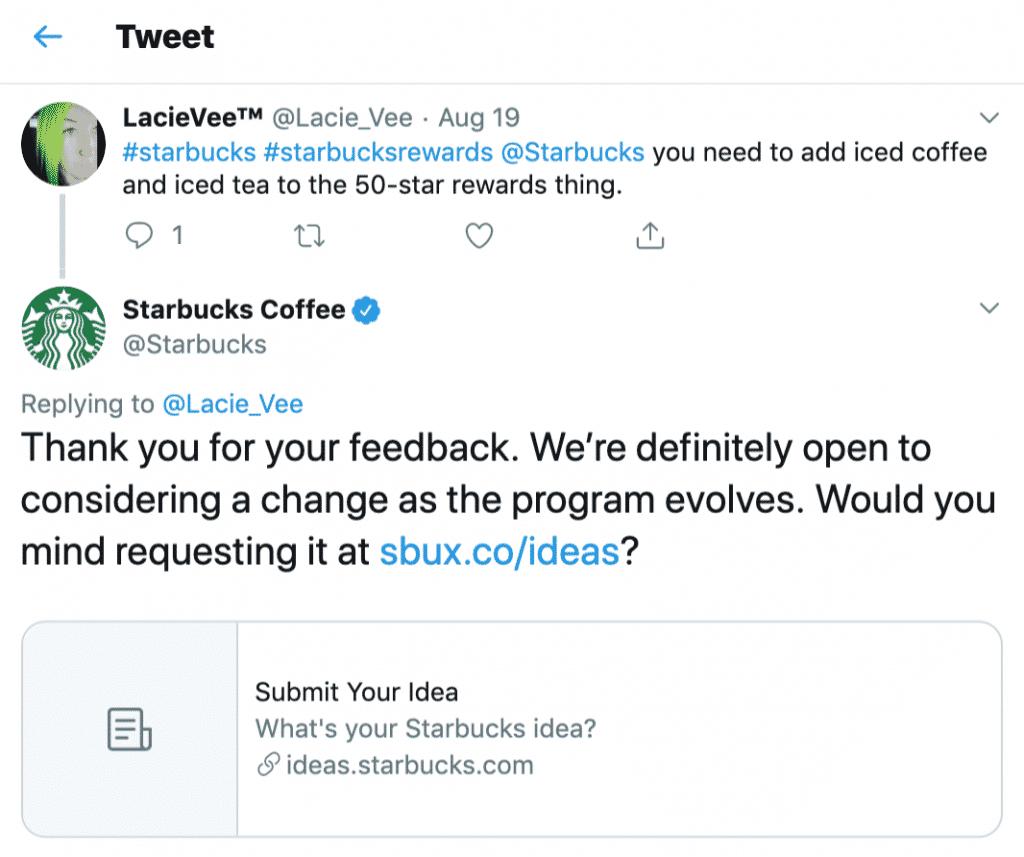 A Starbucks tem um site de suporte ao cliente