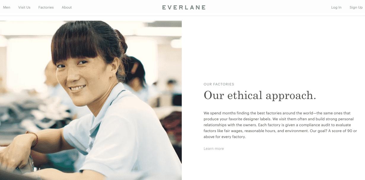 A abordagem ética da Everlane faz parte da imagem de sua marca