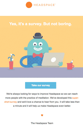 Headspace survey for customer engagement