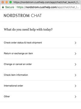 Nordstrom live chat for customer engagement