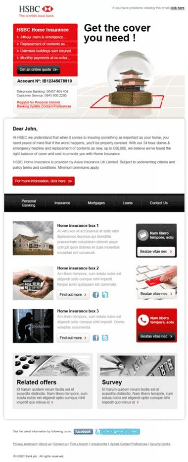HSBC segmented email design