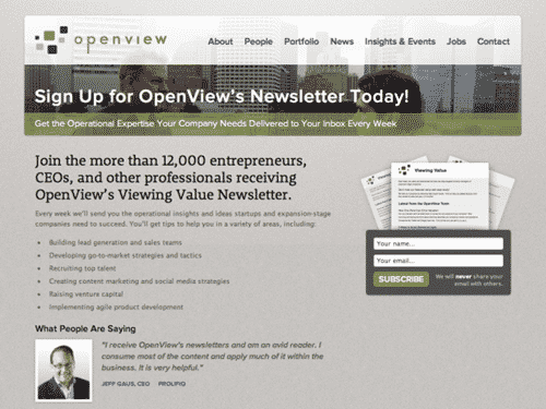 OpenView engagement email