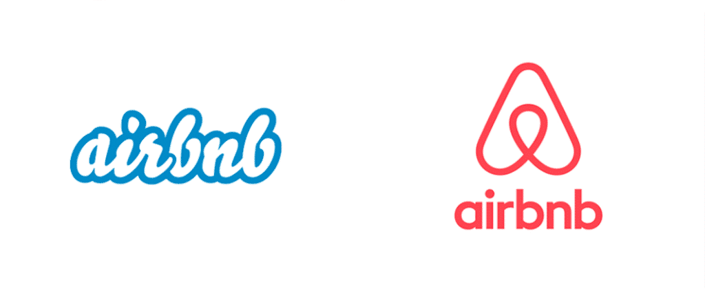 AirBnB 2014 rebrand, logo before and after