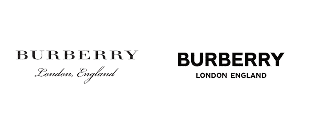 Burberry 2018 rebrand, logo before and after